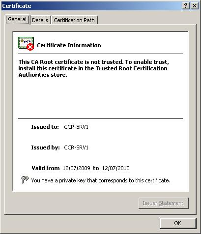 Figure 1 General Tab Of A Self Signed Exchange 2007 Certificate
