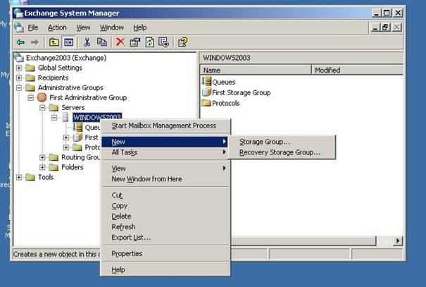 2003 server exchange:
