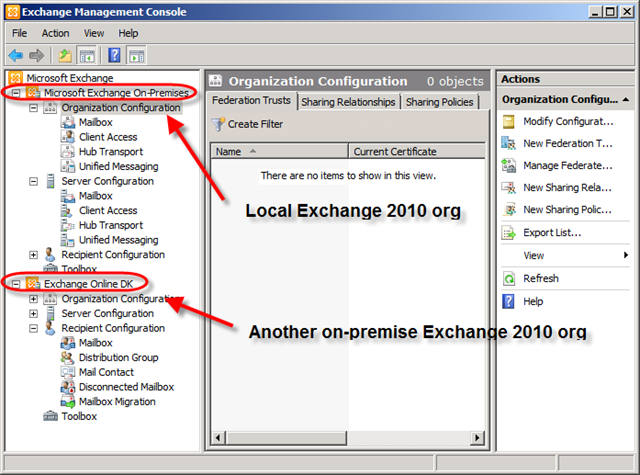 Accessing multiple exchange organizations from one emc techgenix - Exchange management console ...