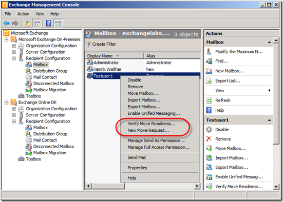 Cross forest mailbox moves using the exchange management console - Exchange management console ...