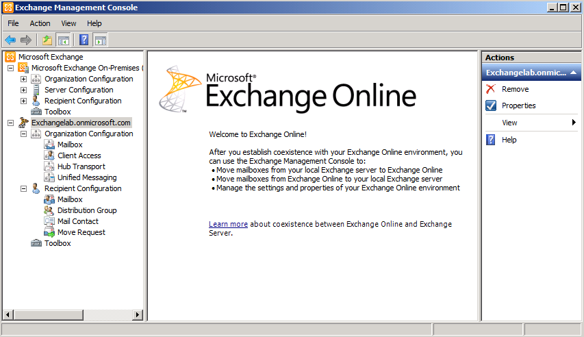 Connecting to exchange online office 365 using the exchange 2010 management console - Exchange management console ...
