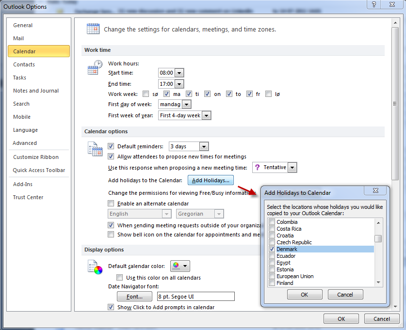 Centrally Adding Location Specific Holidays to Exchange 2010