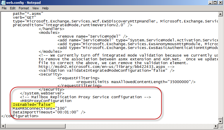 Exchange 2010 SP2: Changes to the MRSProxy Service Configuration